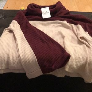 Burgundy and Cream Turtleneck Sweater